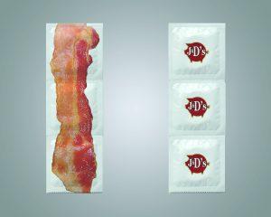 Pacote de camisinhas de bacon